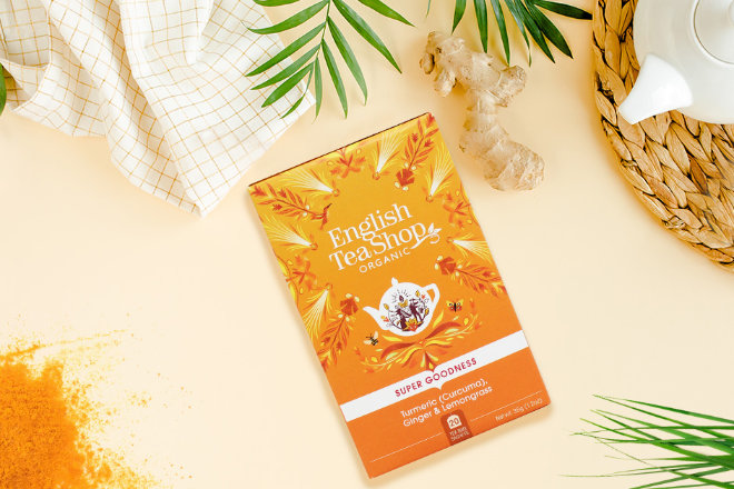 Erdig-aromatische Kurkuma mit belebendem Ingwer und erfrischendem Zitronengras für einen spritzigen, koffeinfreien Tee.