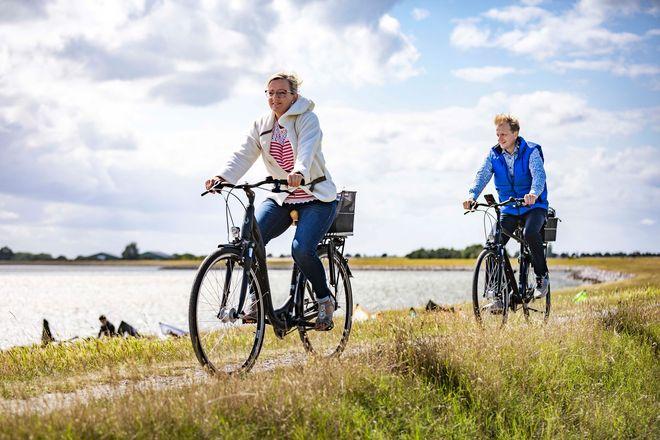 Rund 300 Kilometer ausgeschilderte Radwege führen vielfach direkt an der Küste oder auf dem Deich entlang.